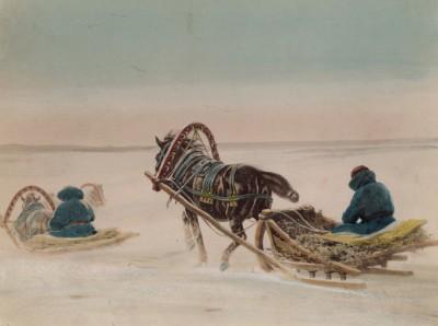 1900-е гг. Ямщики зимой (крашенный вручную тиражный вариант фотографии Петра Павлова (1860--1925))