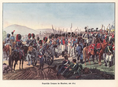 Баварская армия на манёврах в 1815 году (из популярной в нацистской Германии работы Мартина Лезиуса Das Ehrenkleid des Soldaten... Берлин. 1936 год)