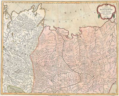 Часть Мангазейского и Якутского уездов с устьем реки Енисея и Лены.