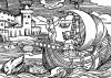 Путешественники у мыса Доброй Надежды. Иллюстрация Йорга Бреу Старшего к описанию путешествия на восток Лодовико ди Вартема: Ludovico Vartoman / Die Ritterliche Reise. Издал Johann Miller, Аугсбург, 1515