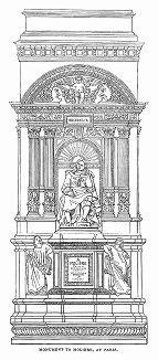 Монумент великому Мольеру (1622 -- 1673 гг.) -- комедиографу Франции и новой Европы, создателю классической комедии, по профессии актёру и директору театра, установленный в Париже на улице Рю де Ришелье (The Illustrated London News №90 от 20/01/1844 г.)