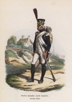 Фузилёр -- гренадер Императорской гвардии в парадной форме (из популярной работы Histoire de l'empereur Napoléon (фр.), изданной в Париже в 1840 году с иллюстрациями Ораса Верне и Ипполита Белланжа)