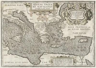 Карта путешествия Энея после окончания Троянской войны. Aeneae Troiani Navigatio. Составил Абрахам Ортелиус. Антверпен, 1612