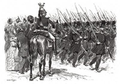 Публика восторженно приветствует строй французских егерей в 1839 году (из Types et uniformes. L'armée françáise par Éduard Detaille. Париж. 1889 год)