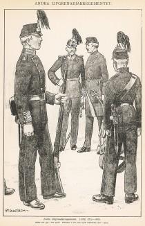Шведские гренадеры полка Andra в униформе образца 1872-86 гг. Svenska arméns munderingar 1680-1905. Стокгольм, 1911