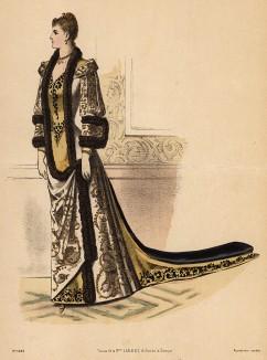 Поистине королевское платье с шлейфом, украшенное вышивкой и мехом. Из французского модного журнала Le Coquet, выпуск 260, 1889 год