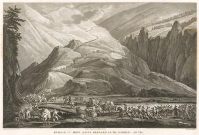 Переход армии генерала Бонапарта через перевал Сен-Бернар в мае 1800 г. Tableaux historiques des campagnes d'Italie depuis l'аn IV jusqu'á la bataille de Marengo. Париж, 1807