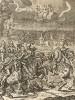 """Глаза воинов и Энея, и Турна прикованы к амазонке Камилле, погибшей в сражении. """"Энеида"""" Вергилия, книга XI. Лист подписного издания посвящён эсквайеру Артуру Мэнваринджу."""