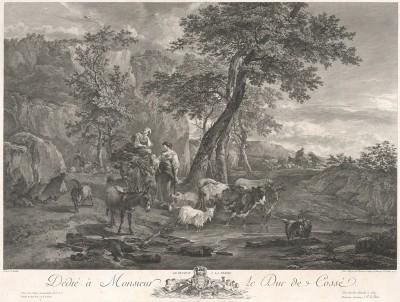 Возвращение на ферму. Гравюра Жака Филиппа Леба с оригинала известного фламандского художника Николаса Берхема.