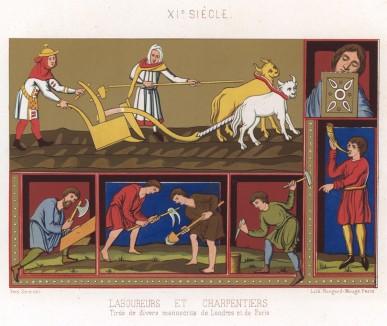 Средневековые пахари и плотники за работой и на отдыхе (миниатюры из средневековой хроники) (из Les arts somptuaires... Париж. 1858 год)