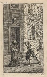 Пытаясь жениться на богатой вдове, освободившей его из плена, Гудибрас ухаживает за ней на манер средневековых рыцарей. Иллюстрация к поэме «Гудибрас». Лондон, 1732