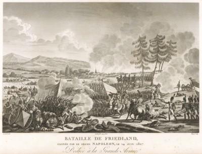Битва под Фридландом 14 июня 1807 г. Tableaux historiques des campagnes d'Italie depuis l'аn IV jusqu'á la bataille de Marengo. Париж, 1807