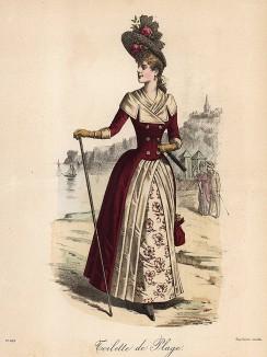 Практичный и элегантный дамский туалет для прогулок по пляжу. Непременные аксессуары - трость и кокетливая шляпка. Из французского модного журнала Le Coquet, выпуск 243, 1888 год