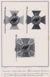 Историческое описание одежды и вооружения российских войск... А. В. Висковатова. Знамёна, пожалованные гарнизонным батальонам в 1805--1810 гг. (лист 2411)