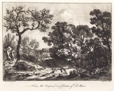 Пейзаж с ручьем. Гравюра с рисунка знаменитого английского пейзажиста Томаса Гейнсборо из коллекции британского мецената Т. Монро. A Collection of Prints ...of Tho. Gainsborough, Лондон, 1819.