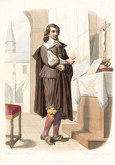 """Эсташ Лесюэр (1616-1655) - художник, прозванный """"французским Рафаэлем"""". Лист из серии Le Plutarque francais..., Париж, 1844-47 гг."""