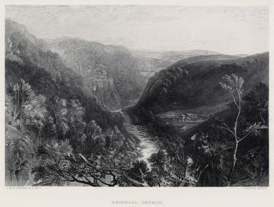 """Церковь в Бригноле (лист из альбома """"Галерея Тёрнера"""", изданного в Нью-Йорке в 1875 году)"""
