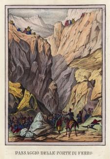Французская армия с боем преодолевает горный проход Железные ворота (иллюстрация к L'Africa francese... - хронике французских колониальных захватов в Северной Африке, изданной во Флоренции в 1846 году)