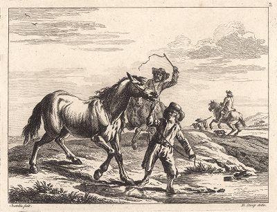 Лошади на водопое. Редкий офорт Жана Шателена по рисункам Дирка Ступа 1651 года.
