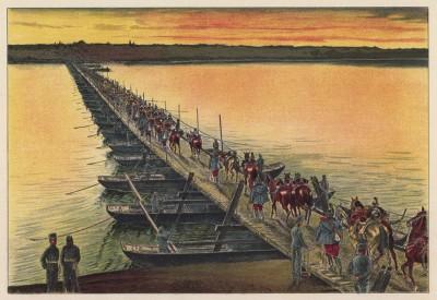 Австро-венгерская кавалерия переходит Дунай по понтонному мосту (из редкого альбома Der Osterr. Ung. Soldat mit waffe und Werkzeug. Armee-Bilderbuch (нем.), изданного в Штраубинге (Германия) в 1911 году)