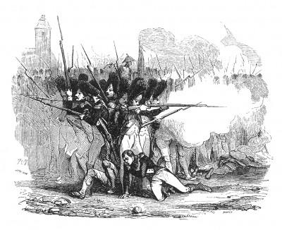 Итальянская кампания 1800 г. Сражение при Маренго 14 июня 1800 г. Австрийцы наступают по всей линии фронта. Более ста орудий ведут интенсивный огонь картечью по войскам Бонапарта. Histoire de l'empereur Napoléon. Париж, 1840