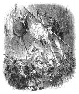 16 октября 1805 г. маршал Ней берет Инсбрук. В арсенале среди трофеев обнаруживают знамя французского 76-го полка, захваченное австрийцами в предыдущей войне. Находка вызывает всеобщее ликование. Histoire de l'empereur Napoléon. Париж, 1840
