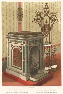 Печь, облицованная сланцем, покрытым эмалью, - имитацией зелёного генуэзского мрамора, а также декоративная решётка. Каталог Всемирной выставки в Лондоне 1862 года, т.2, л.148