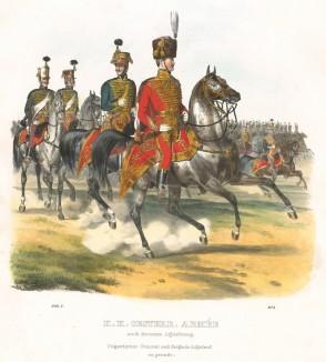Генерал и бригадный адъютант венгерской кавалерии в парадной форме (из K. K. Oesterreichische Armée nach der neuen Adjustirung in VI. abtheil. I te. Abtheil. Generalitet und Garde. Лист 5. Вена. 1837 год)