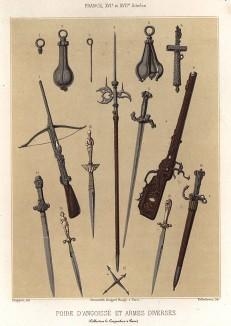 Груша мучения - средневековое орудие пытки, которое вставляли в рот наказуемому, чтобы приглушить крики, а также различные виды оружия (из Les arts somptuaires... Париж. 1858 год)