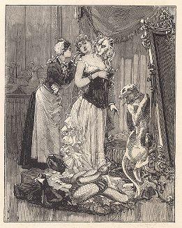 """Двадцать третий лист серии """"Бельфорский лев"""" Макса Эрнста, входящей в роман-коллаж """"Une Semaine de bonté"""" (Неделя доброты), 1934 год."""