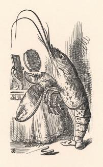 И поправивши носом жилетку и бант, он идет на носочках, как лондонский франт (иллюстрация Джона Тенниела к книге Льюиса Кэрролла «Алиса в Стране Чудес», выпущенной в Лондоне в 1870 году)