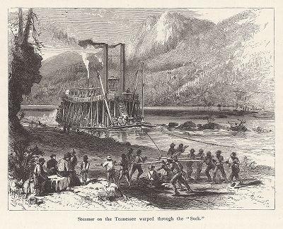 """Провод парохода через пороги на реке Теннесси, штат Теннесси. Лист из издания """"Picturesque America"""", т.I, Нью-Йорк, 1872."""