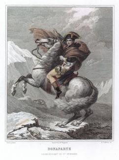 Наполеон на перевале Сен-Бернар. Гравюра на стали по мотивам знаменитой картины Жак-Луи Давида. Париж, 1848