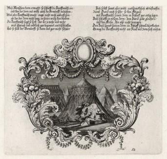 Давид видит Саула, спящего в шатре (из Biblisches Engel- und Kunstwerk -- шедевра германского барокко. Гравировал неподражаемый Иоганн Ульрих Краусс в Аугсбурге в 1700 году)