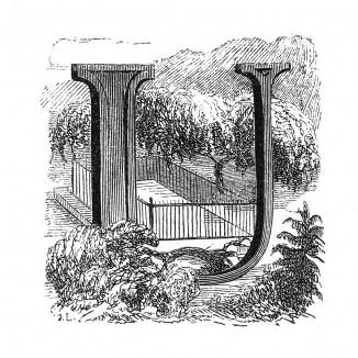 Инициал (буквица) U, предваряющий пятьдесят седьмую главу «Истории императора Наполеона» Лорана де л'Ардеша о перевозке в 1840 году праха Наполеона во Францию. Париж, 1840
