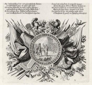 Исайя показывает Езекии небесные знамения (из Biblisches Engel- und Kunstwerk -- шедевра германского барокко. Гравировал неподражаемый Иоганн Ульрих Краусс в Аугсбурге в 1700 году)
