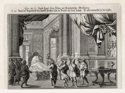 Иосиф у ложа умирающего отца (из Biblisches Engel- und Kunstwerk -- шедевра германского барокко. Гравировал неподражаемый Иоганн Ульрих Краусс в Аугсбурге в 1700 году)
