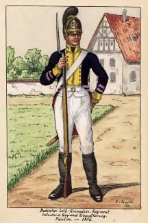 1806 г. Фузилер лейб-гренадерского полка Великого герцогства Баден. Коллекция Роберта фон Арнольди. Германия, 1911-29