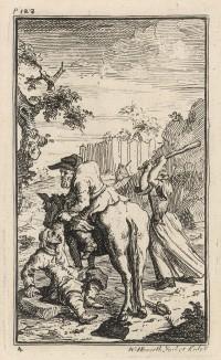 Гудибрас повержен Труллой. Сцена 1. Сбежав от крестьян, медведя и собаки, Гудибрас застигнут врасплох положившей на него глаз деревенской бой-бабой Труллой. Иллюстрация к поэме «Гудибрас», Лондон, 1732