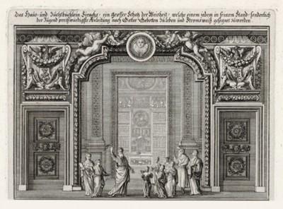 Дом Божий (из Biblisches Engel- und Kunstwerk -- шедевра германского барокко. Гравировал неподражаемый Иоганн Ульрих Краусс в Аугсбурге в 1700 году)