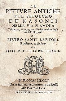 """Титульный лист издания """"Le Pitture Antiche del Sepolcro de' Nasonii..."""", Рим, 1702 год."""