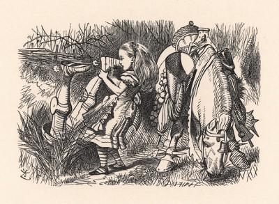 """""""Как это вы можете говорить вниз головой, да ещё так спокойно?"""" -- спросила Алиса, вытаскивая его за ноги из канавы (иллюстрация Джона Тенниела к книге Льюиса Кэрролла «Алиса в Зазеркалье», выпущенной в Лондоне в 1870 году)"""