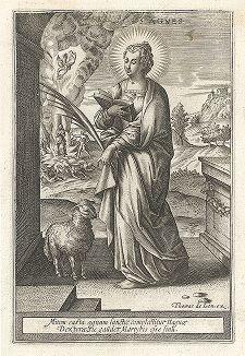 """Святая Агнесса Римская. Лист к серии гравюр """"Мартиролог святых дев"""" (Martyrologium Sanctarum Virginum), Париж, ок. 1600 г."""