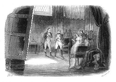 Вернувшись в Париж, в начале января 1808 г. император Наполеон и императрица Жозефина посещают мастерскую художника Давида, чтобы увидеть картину «Коронация Наполеона Бонапарта». Histoire de l'empereur Napoléon, Париж, 1840