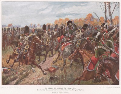 Бой баварской кавалерии и конных гренадеров императорской гвардии Наполеона в сражении при Ганау (Ханау) 30 октября 1813 г. Илл. Рихарда Кнотеля, Die Deutschen Befreiungskriege 1806-15. Берлин, 1901