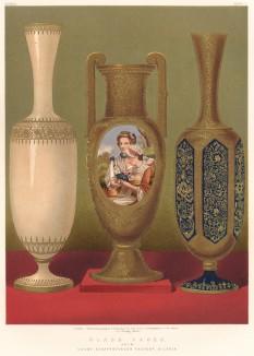Прусские женщины в национальных костюмах, изображённые на эмалях ваз богемского стекла, произведённых мануфактурой графа Шаффготша (Каталог Всемирной выставки в Лондоне. 1862 год. Том 1. Лист 5)