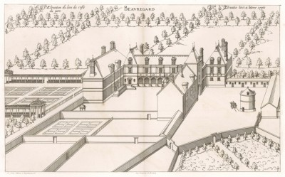 Вид на замок Борегар со стороны парка. Androuet du Cerceau. Les plus excellents bâtiments de France. Париж, 1579. Репринт 1870 г.