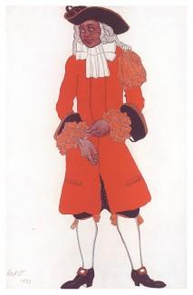 "Valet de сhasse. Слуга в охотничьем костюме. Леон Бакст, эскиз костюма для балета ""Спящая красавица"". L'œuvre de Léon Bakst pour ""La Belle au bois dormant"", л.XLIII. Париж, 1922"
