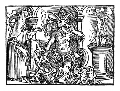 Поклонение идолу. Иллюстрация Йорга Бреу Старшего к описанию путешествия на восток Лодовико ди Вартема: Ludovico Vartoman / Die Ritterliche Reise. Издал Johann Miller, Аугсбург, 1515