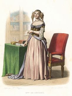 Мари де Рабютен-Шанталь, маркиза де Севинье (1626-1696) - французская писательница. Лист из серии Le Plutarque francais..., Париж, 1844-47 гг.